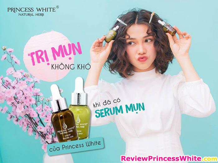 bộ đôi serum trị mụn princess white